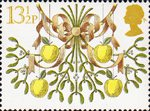 Christmas 13.5p Stamp (1980) Apples and Mistletoe