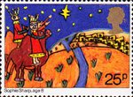 Christmas. Through The Eyes of a Child 25p Stamp (1981) Three Kings approaching Bethlehem