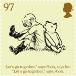 Childrens Books - Winnie The Pooh 97p Stamp (2010) Christopher Robin pulls on his Wellingtons
