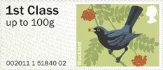 Pictorial Post & Go - Birds of Britain II 1st Stamp (2011) Blackbird