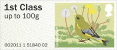 Pictorial Post & Go - Birds of Britain II 1st Stamp (2011) Greenfinch