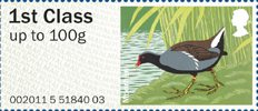 Pictorial Post & Go - Birds of Britain III 1st Stamp (2011) Moorhen