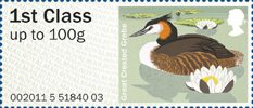 Pictorial Post & Go - Birds of Britain III 1st Stamp (2011) Great Crested Grebe