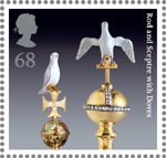 The Crown Jewels 68p Stamp (2011) Rod and Sceptre with Doves