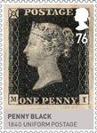 Kings & Queens, House of Hannover 76p Stamp (2011) Penny Black � 1840 Uniform Postage