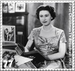 HM The Queen's Diamond Jubilee 77p Stamp (2012) First Christmas TV Broadcast 1957