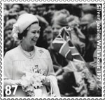 HM The Queen's Diamond Jubilee 87p Stamp (2012) Silver Jubilee Walkabout 1977