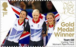 Team GB Gold Medal Winners 1st Stamp (2012) Cycling: Track Women's Team Pursuit - Team GB Gold Medal Winners