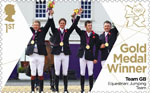 Team GB Gold Medal Winners 1st Stamp (2012) Equestrian: Team Jumping - Team GB Gold Medal Winners