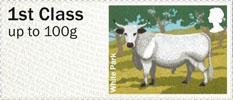 Post & Go - British Farm Animals III - Cattle 1st Stamp (2012) White Park