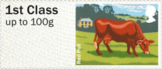 Post & Go - British Farm Animals III - Cattle 1st Stamp (2012) Red Poll