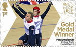Paralympics Team GB Gold Medal Winners  1st Stamp (2012) Cycling: Track Men's B Sprint - Paralympics Team GB Gold Medal Winners