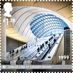 London Underground �1.28 Stamp (2013) 1999 - Jubilee Line at Canary Wharf