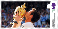 Andy Murray - Gentlemen's Singles Champion Wimbledon 2013 1st Stamp (2013) Andy Murray Wimbledon Champion