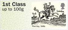 Post & Go : Royal Mail Heritage: Transport 1st Stamp (2016) Post boy, 1640s