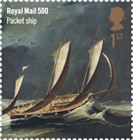 Royal Mail 500 1st Stamp (2016) Packet Ship
