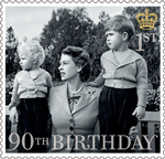 HM The Queen's 90th Birthday 1st Stamp (2016) HM The Queen with Princess Anne and Price Charles 1952