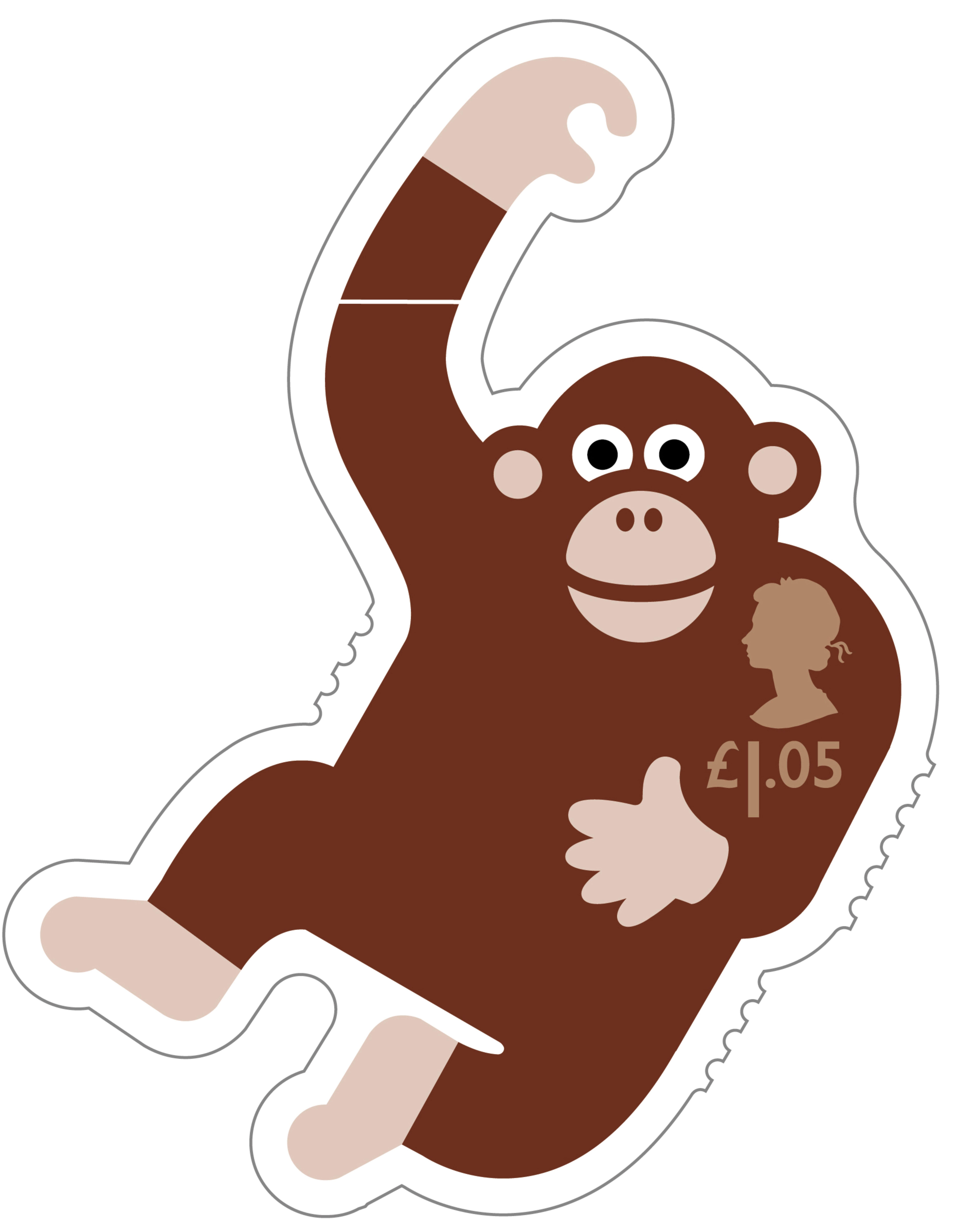 animail stamp 2016 chimpanzee