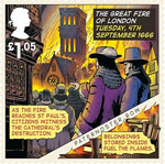 The Great Fire of London £1.05 Stamp (2016) Tuesday, 4th September 1666, St Pauls destruction