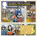 The Great Fire of London £1.52 Stamp (2016) Wednesday, 5th September 1666, The fire dies out