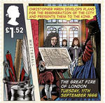 The Great Fire of London £1.52 Stamp (2016) Tuesday, 11th September 1666, Christopher Wren plans presented
