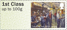 Post & Go : Royal Mail Heritage : Mail by Rail 1st Stamp (2017) Travelling Post Office: Sorting