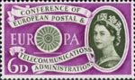 First Anniversary of European Postal and Telecommunications Conference (CEPT) 6d Stamp (1960) Conference Emblem