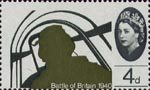 25th Anniversary of Battle of Britain 4d Stamp (1965) Pilot in Hawker Hurricane Mk 1