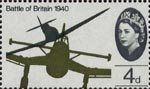 25th Anniversary of Battle of Britain 4d Stamp (1965) Supermarine Spitfire attacking Junkers Ju 87B 'Stuka' Dive-bomber