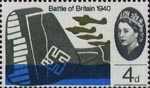 25th Anniversary of Battle of Britain 4d Stamp (1965) Hawker Hurricanes Mk 1 over Wreck of Dornier Do-17Z Bomber