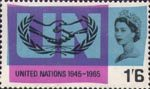 20th Anniversary of UNO and International Co-operation Year 1s6d Stamp (1965) I.C.Y. Emblem