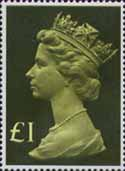 High Value Definitives 1977-1987 £1 Stamp (1977) Head, Olive Green - tint, pale greenish yellow
