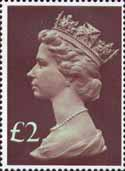 High Value Definitives 1977-1987 £2 Stamp (1977) Head, Purple Brown - tint, pale green