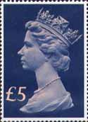 High Value Definitives 1977-1987 £5 Stamp (1977) Head, Royal Blue - tine, pale pink