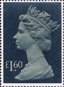 High Value Definitives 1977-1987 £1.60 Stamp (1977) drab and deep greenish blue