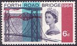 Opening of Forth Road Bridge 6d Stamp (1964) Forth Road Bridge and Railway Bridges