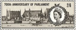 700th Anniversary of Simon de Montfort's Parliament 2s6d Stamp (1965) Parliament Buildings (after engraving by Hollar, 1647)