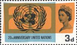 20th Anniversary of UNO and International Co-operation Year 3d Stamp (1965) U.N. Emblem