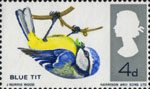 British Birds 4d Stamp (1966) Blue Tit