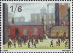 British Painters 1s6d Stamp (1967) 'Children Coming Out of School' (L.S.Lowry)