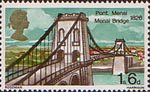 British Bridges 1s6d Stamp (1968) Menai Bridge