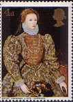 British Paintings 4d Stamp (1968) 'Queen Elizabeth I' (Unknown Artist)