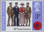 British Anniversaries 3p Stamp (1971) Servicemen and Nurse of 1921
