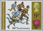 British Anniversaries 9p Stamp (1971) Rugby Football, 1971