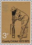 County Cricket 1873-1973 9p Stamp (1973) County Cricket 1873-1973