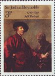 British Painters 3p Stamp (1973) 'Self-portrait' (Sir Joshua Reynolds)