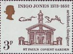 Inigo Jones - 400th Anniversary 3p Stamp (1973) St Paul's Church, Covent Garden