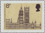 19th Commonwealth Parliamentary Conference 8p Stamp (1973) Palace of Westminster seen from Whitehall