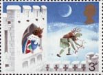 Christmas 3p Stamp (1973) 'Good King Wenceslas, the Page and Peasant'