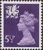Regional Decimal Definitive - Wales 5.5p Stamp (1974) Purple